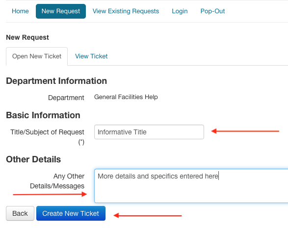 Image showing basic title and description of support request fields requiring information