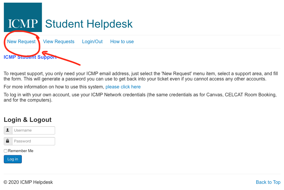 Image showing the helpdesk page menu, highlighting the new request button